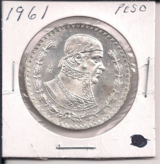 1 - 1961 Mexican Silver Dollar Coin - One Peso - Very Large,  Circulated photo