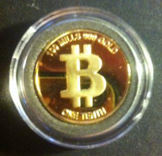 Bitcoin 2013 Physical Metal Novelty 1/10 Btc Rare.  999 Gold Plated Coin photo