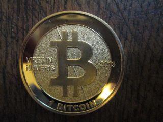 24k Fine Gold Plated Bitcoin 2013 Physical Like Casascius Lealana Ltc Btc photo