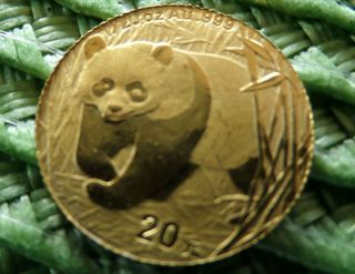 2002 Chinese Panda Gold Coin -.  999,  1/20,  20 Yuan - Pristine photo