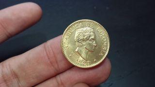 1928 Republic Of Colombia Cinco Pesos Gold Coin Ley 0.  916 2/3 photo