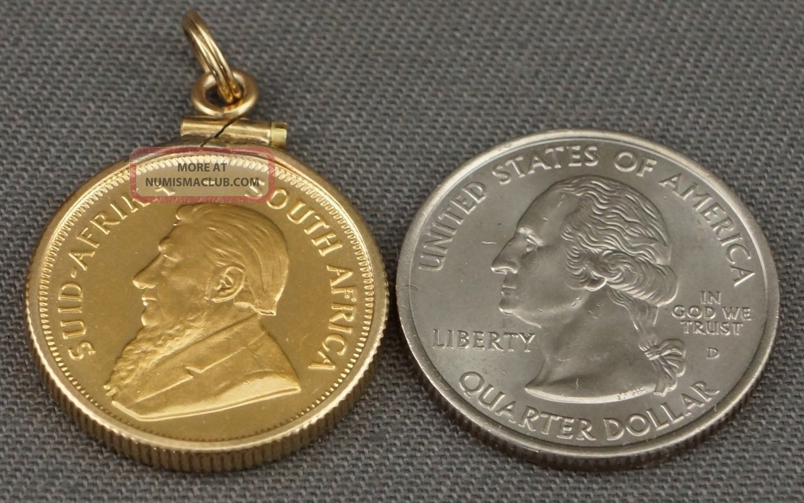 1980 South Africa Krugerrand Gold Coin 1 4 Oz In 14k Gold Fill Bezel Pendant Nr