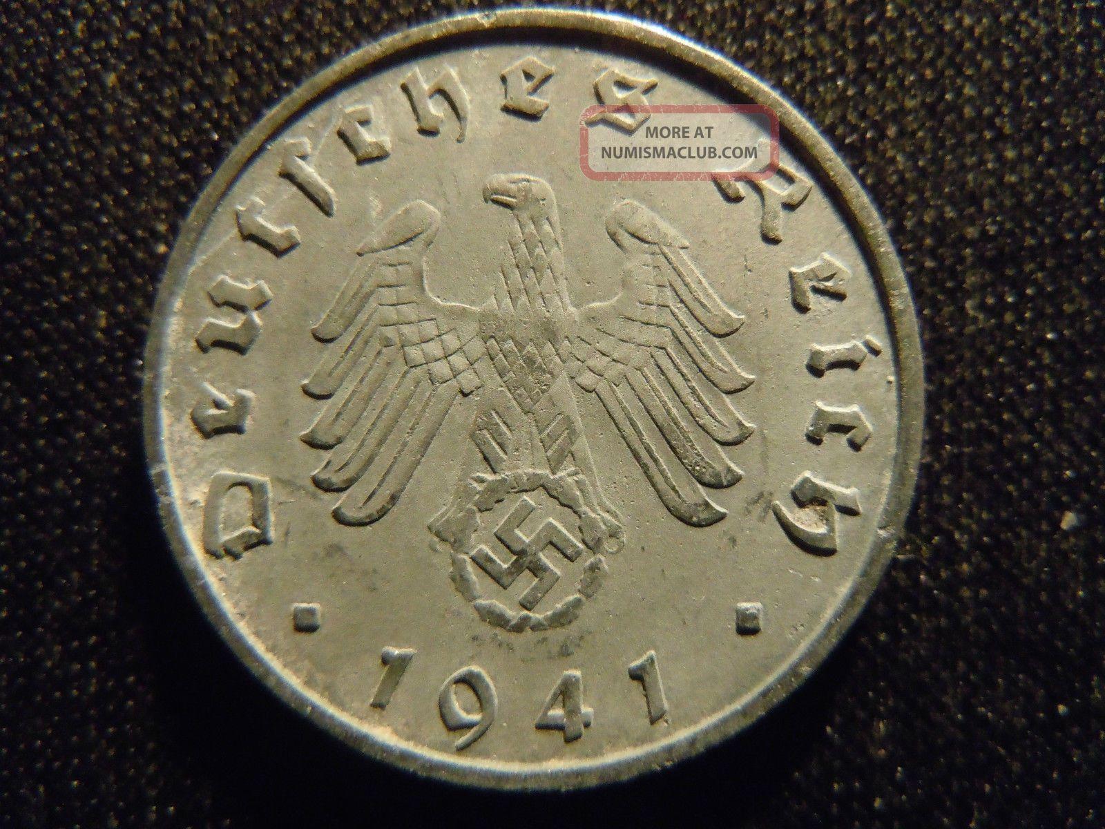 1941 B German Ww2 10 Reichspfennig Germany Nazi Coin Swastika World Ab
