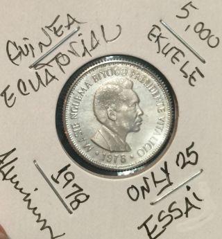 L@@k Guinea Ecuatorial Coin Aluminium 1978 (essai) 5,  000 Ekuele Low Mintage photo