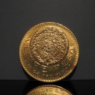 1918 Mexico Gold Veinte 20 Pesos 16g 27mm Vintage Mexican World Coin photo