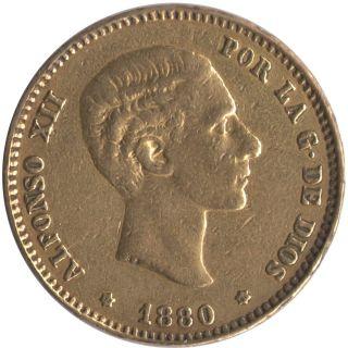 1880 25 Pesetas Alfonso Xii Gold Coin.  2332 Agw.  Sku: 236 photo
