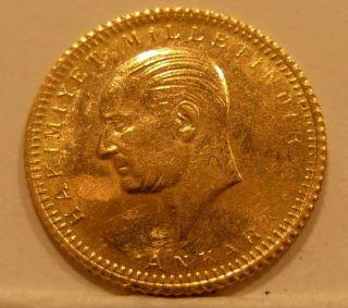 Turkey 1923/49 Gold 25 Kurush Unc photo