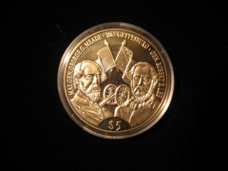 2000 Republic Of Liberia Clad 5 Dollar Proof Coin Civil War Gettysburg photo