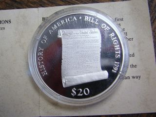 Commemorative Bill Of Rights Proof Silver Coin - - 20 Grams.  999 Silver W/coa photo