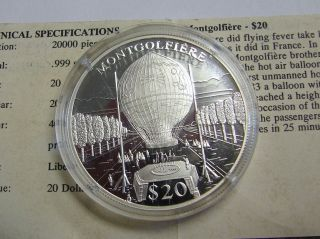 Commemorative Montgolfiere Balloo Proof Silver Coin - - 20 Grams.  999 Silver W/coa photo