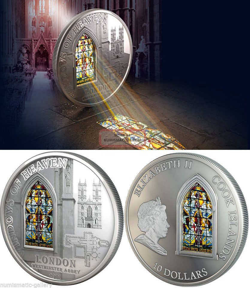 Cook Islands $10 2011 Pf Windows Of Heaven - Westminster Abbey 50g.  Silver Coins: World photo