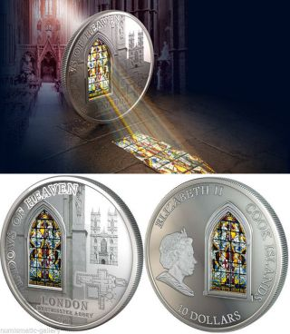 Cook Islands $10 2011 Pf Windows Of Heaven - Westminster Abbey 50g.  Silver photo