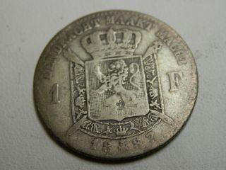1887 Belgium 1 Franc Km photo