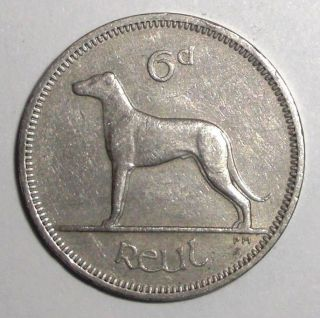 1962 Ireland 6 Pence,  Irish Wolfhound Dog,  Animal Wildlife Coin photo