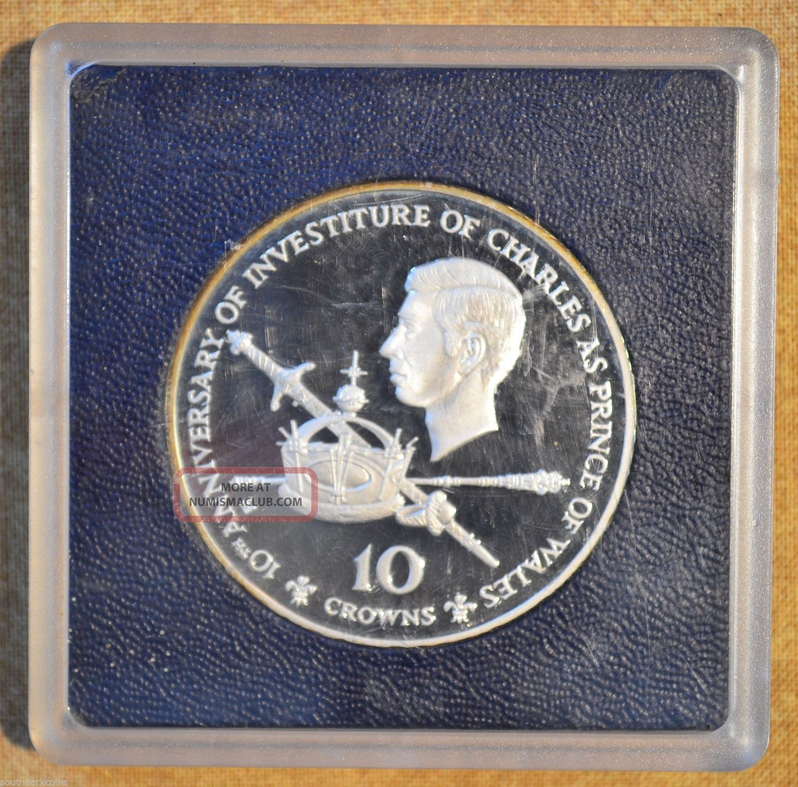 1976 Silver Turks & Caicos Islands 10 Crowns Proof 10th Anniv.  Prince Chalres Coins: World photo