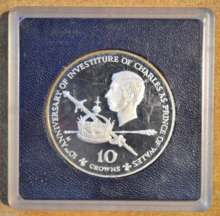 1976 Silver Turks & Caicos Islands 10 Crowns Proof 10th Anniv.  Prince Chalres photo