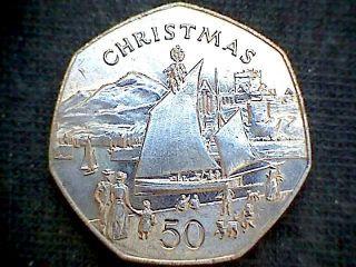 Isle Of Man 1981 50 Pence Christmas,  Manx Nickey Boat,  Unc photo