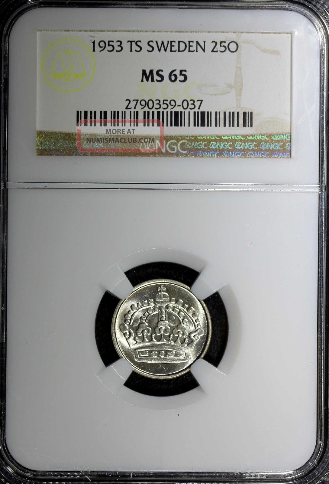 Sweden Gustaf Vi Silver 1953 Ts 25 Ore Ngc Ms65 - Top Graded Km 824 N/r Europe photo