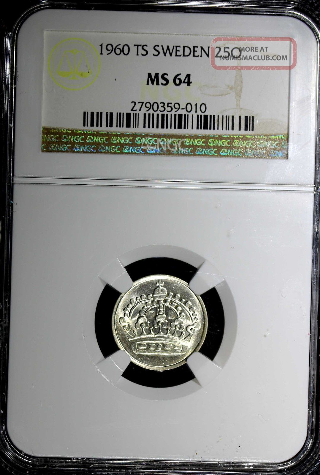 Sweden Gustaf Vi Silver 1960 Ts 25 Ore Ngc Ms64 Rarest Type Key Date Km 824 Europe photo