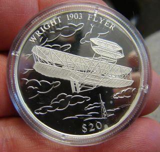 Commemorative Wright Flying Machine Silver Coin - - 20 Grams.  999 Silver W/coa photo