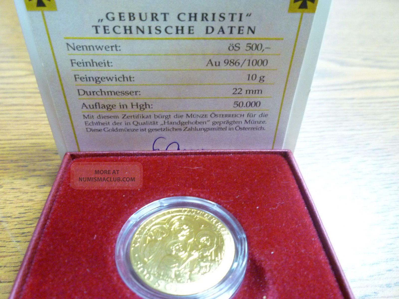Fr Austria 2000 500 Schilling Gold The Birth Of Christ Goldmunze