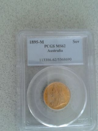 Pcgs Uncirculed 1895 - M Ms62 Gold Full Sovereign Coin Ms Bu.  2354 Troy Oz photo