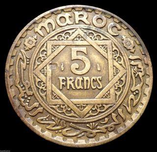 Morocco,  1365 (1946) 5 Francs Moḥamed V Detail & Patina photo