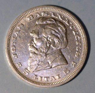 Lithuania 5 Litai 1936 Almost Uncirculated Silver Coin - Jonas Basanavicius photo