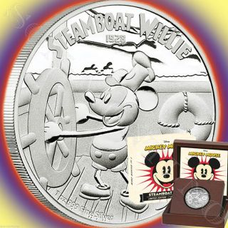 Low 94 - Steamboat Willie 1oz Silver Mickey Mouse Coin Disney 2014 Niue photo