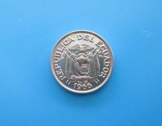 Old Vintage 1966 Ecuador 20 Centavo Coin Ecuadorian Centavos photo