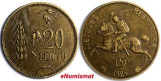 Lithuania Aluminum - Bronze 1925 20 Centu 23mm Xf Km 74 photo