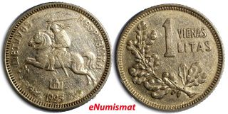 Lithuania Silver 1925 1 Litas 19mm Km 76 photo