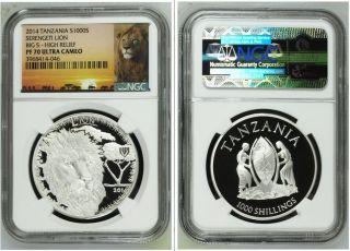 2014 Tanzania Serengeti Loin Big 5 High Relief Pf 70 Uc 1 Oz Silver Coin photo