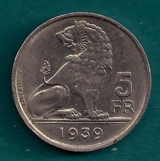 Belgium 5 Francs 1939 Seated Lion Design Belgie – Belgique Legend Coin photo