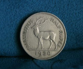 Mauritius 1/2 Rupee 1950 World Coin Africa Indian Ocean Deer Stag photo