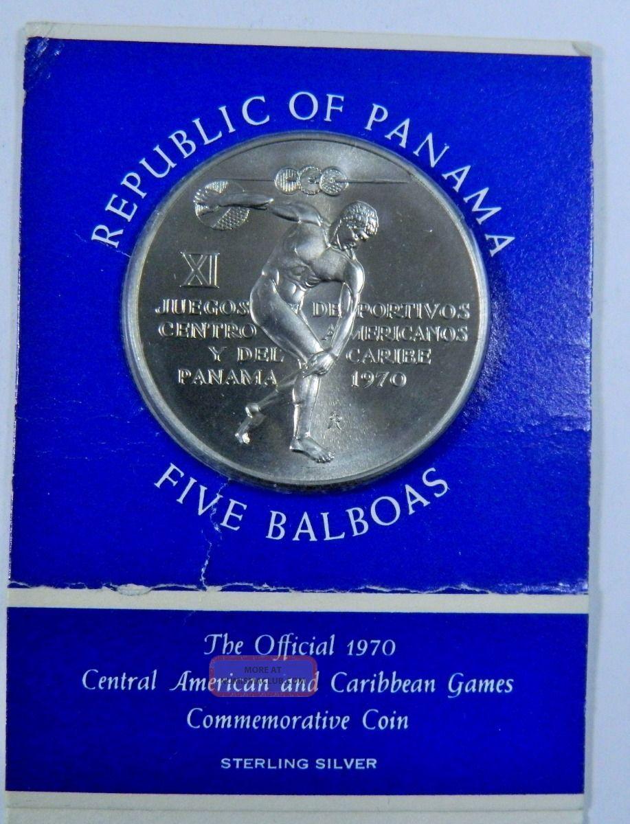 1970 Republic Of Panama Five Balboas Commemorative Sterling Silver Coin - 120359 Coins: World photo