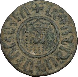 Armenian Kingdom Levon I 1198ad Quality Ancient Medieval Coin Lion Cross I41630 photo
