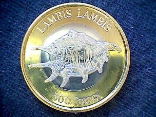 Wallis And Futuna 2011 500 Francs Bimetallic Coin Lambis Lambis Sea Snail photo
