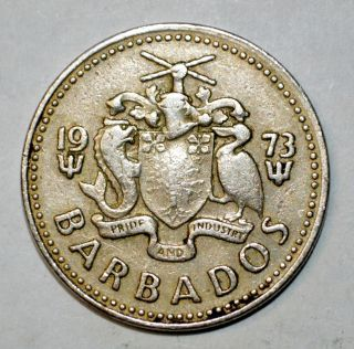 1973 25 Cents Barbados Coin World Foreign South America photo