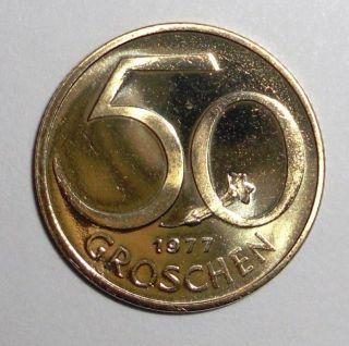 1977 Austria 50 Groschen Coin photo