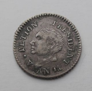 1817 Haiti 25 Centimes Cent An14 Silver Coin Central America Km 15.  1 photo