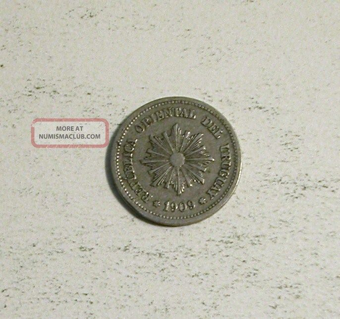 1909 A Uruguay 2 Centesimos Two Cents South America American Coin South America photo
