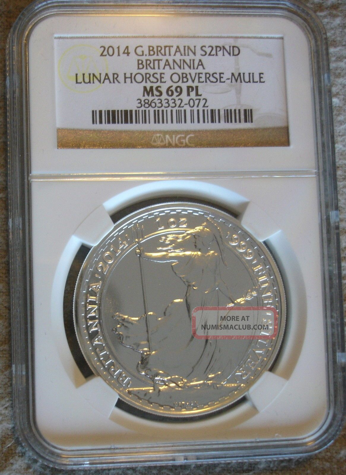 2014 1 Ounce Silver £2 Britannia Lunar Horse Obverse Error Coin Mule Ms69pl Coins: World photo