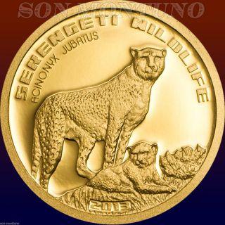 2013 Cheetah Serengeti Wildlife Tanzania 1/2 Gram Pure Gold Coin.  9999 Africa photo