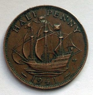 L1 Uk Great Britain 1/2 Penny,  1941 Ww2 Wwii Era Ship photo