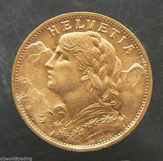 1935 - B Swiss Helvetia 20 Francs Gold Coin photo