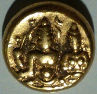 India Gold Pagoda Coin Vijayanagar Shiva & Parvati Vf? 1406 - 22 Ce Us S&h photo
