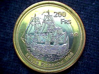 Europa Island French Southern & Antartic Lands 2011 200 Francs Bimetal Sailship photo