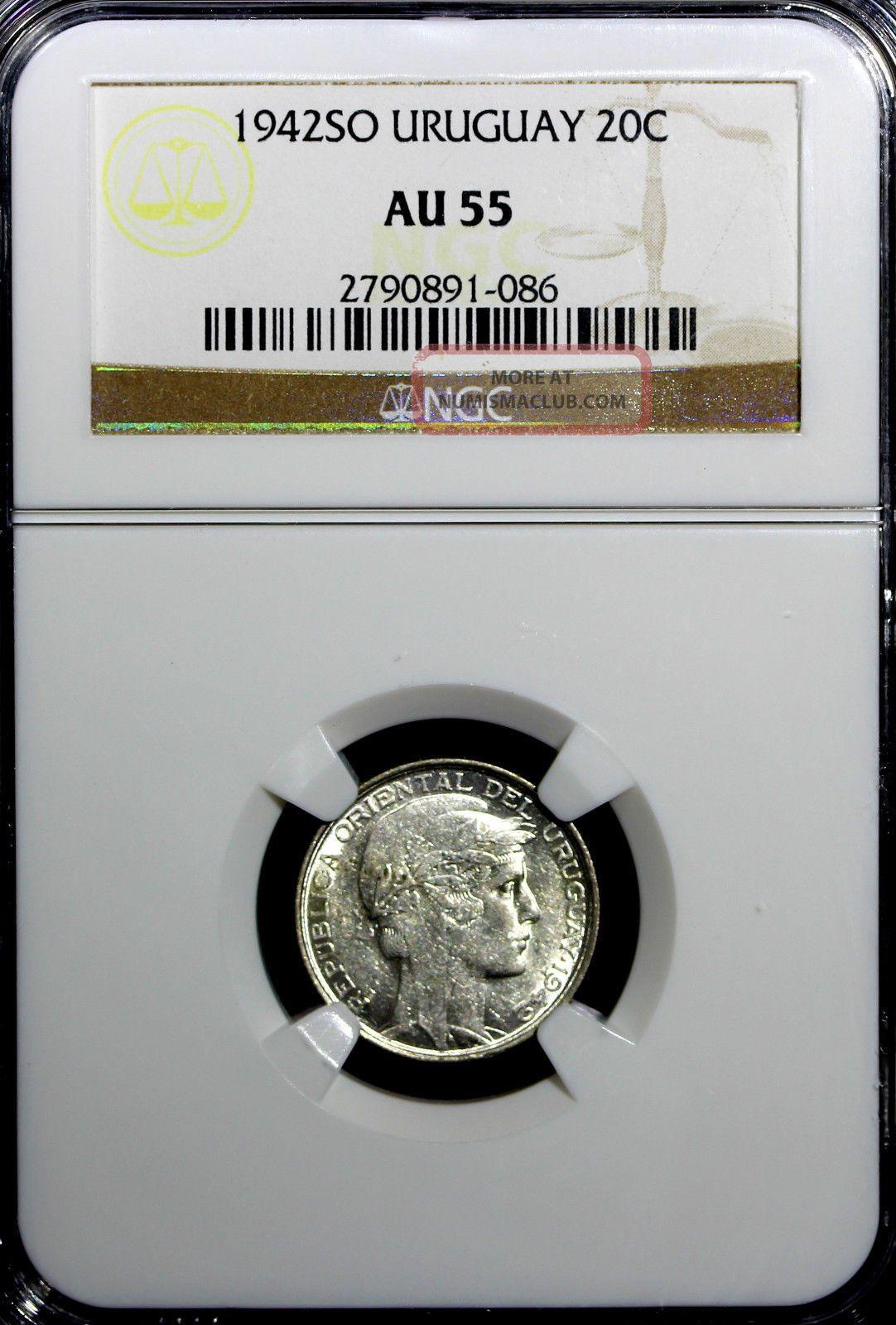 Uruguay Silver 1942 So 20 Centesimos Ngc Au55 Km 29 N/r South America photo