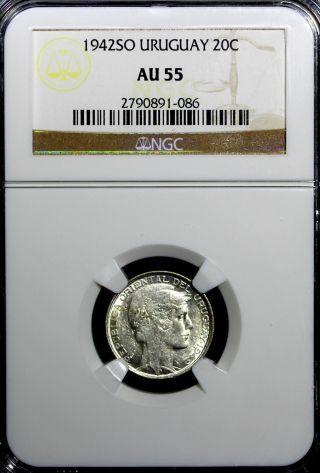 Uruguay Silver 1942 So 20 Centesimos Ngc Au55 Km 29 N/r photo